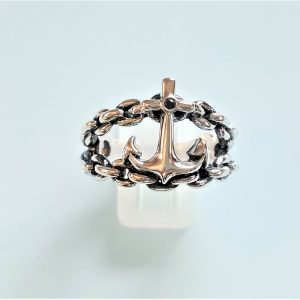 ANCHOR Ring STERLING SILVER Nautical Mariners Anchor Cross Black Onyx Stone Sailor Sea Talisman Amulet