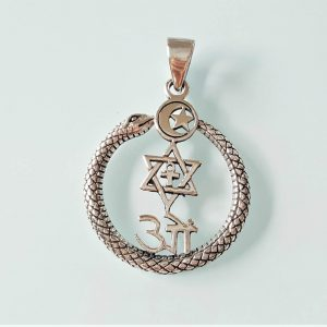 Ouroboros Pendant STERLING SILVER 925 Unity Sacred Symbols Om David Star Ankh Crescent Moon Spiritual Talisman Protective Amulet