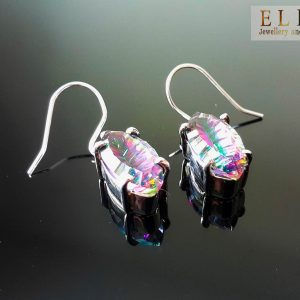 Sterling Silver 925 Marquise Shape Natural Mystic Quartz Earrings Exclusive Gift