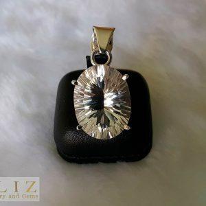 Natural White Quartz Crystal Faceted Concave Sterling Silver Pendant Genuine Gemstone Talisman Amulet