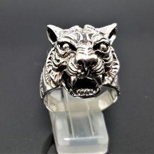 TIGER RING 925 Sterling Silver Big Cat UNISEX Biker Rocker Exclusive Design Handmade Talisman Totem Anilmal