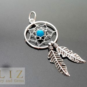 Dream Catcher 925 Sterling Silver Double Feather Turquoise Pendant American Indian Tribal Chief