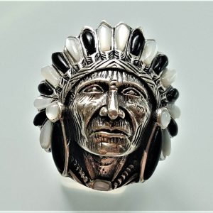 American Indian Chief Warrior Ring STERLING SILVER 925 Natural Mother of Pearl & Black Onyx Ring Spirit Amulet Talisman Heavy 20 grams