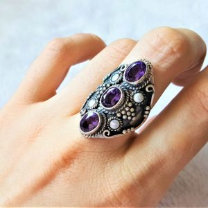 925 Sterling Silver Genuine AMETHYST White Pearl Natural Gemstones Ring
