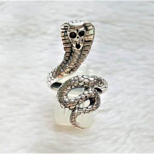 Snake Ring STERLING SILVER 925 Cobra Snake Sacred Symbol of Wisdom Handmade Talisman Amulet