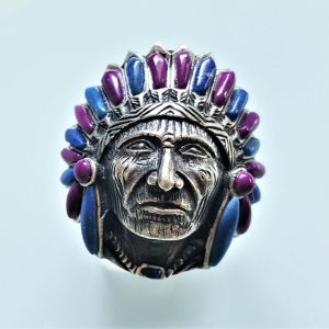 American Indian Ring STERLING SILVER 925  Chief Warrior Natural Lapis Lazuli & Purple Howlite Ring Spirit Amulet Talisman Heavy 20 grams