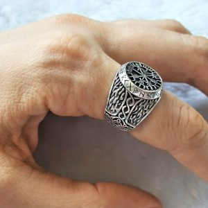 Helm of Awe Ring STERLING SILVER 925 Runic Compass Aegishjalmur Thor Hammer Mjolnir Protective Amulet Norse Viking