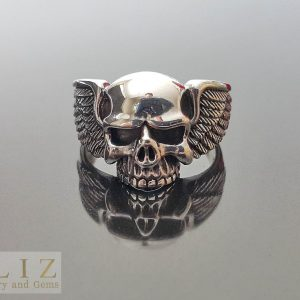 Skull Ring STERLING SILVER Winged Skull Biker Punk Goth Rocker Wings Exclusive Gift
