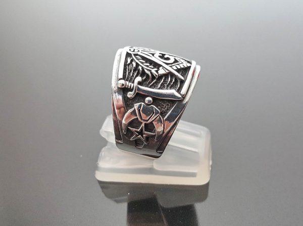 Masonic Ring STERLING SILVER 925 Mason Illuminati Masonic Sacred Symbols G Letter Geometry Mason Symbol Amulet Talisman