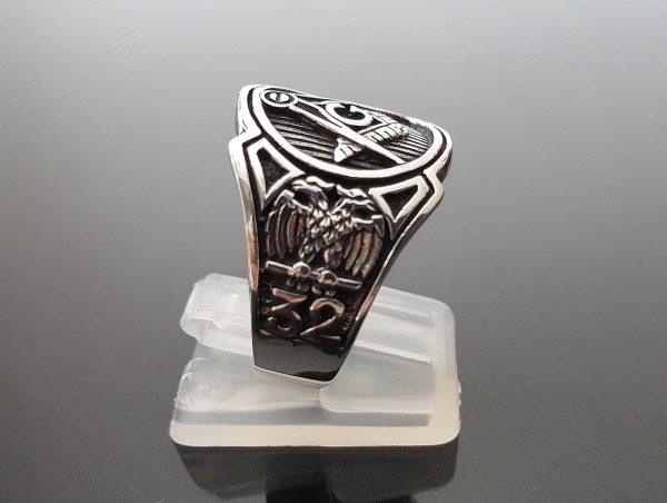Masonic Ring STERLING SILVER 925 MASON Illuminati Masonic Sacred Symbols G Letter Geometry Symbol Square & Compasses Amulet Talisman