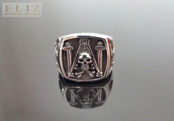 Mason Skull & Bones Ring STERLING SILVER 925 Master Mason G Letter Geometry Symbol Sacred Masonic Compass Talisman Amulet