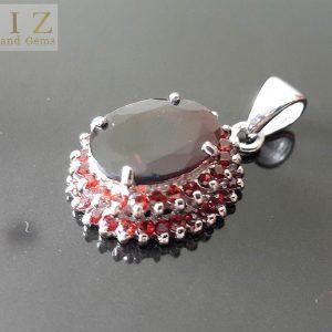 Genuine Garnet Sterling Silver 925 Pendant Exclusive Gift Natural Red Rare Large Gemstone
