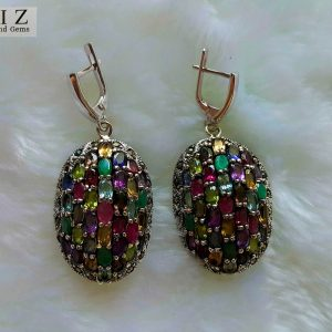 925 Sterling Silver EARRINGS Genuine Precious Gems Multi Stone & Marcasite