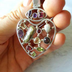 Multi Gem Stones Sterling Silver Heart Pendant Love Talisman Genuine Garnet, Amethyst, Peridot, Smoky, lemon Quartz