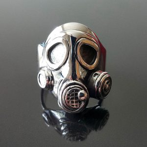 925 Sterling Silver Apocalypse Gas Mask Ring Fetish Bondage Kink punk goth biker rocker