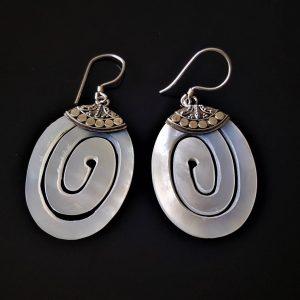 Mother of Pearl STERLING SILVER 925 Pear Shape Earrings Beauty Handmade