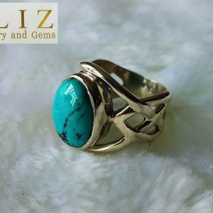 925 Sterling Silver Celtic Nordic knot Turquoise Ring Size 7