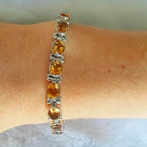 Genuine CITRINE Sterling Silver Bracelet Power of SUN Stone of Succes 7.5 inches Adjustable