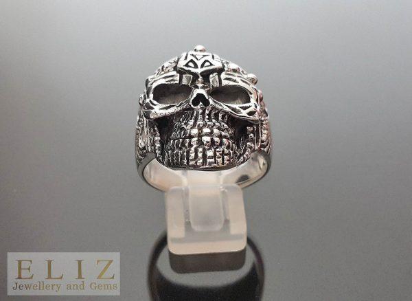 17 Gram's Aztec Tribal Skull .925 Sterling Silver Ring  11' 11.5' 11.75' 12'