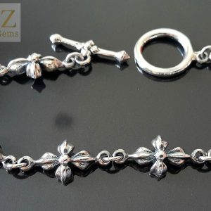 Gothic Flower .925 Sterling Silver T Clasp 8' Bracelet 23.7 Gram's