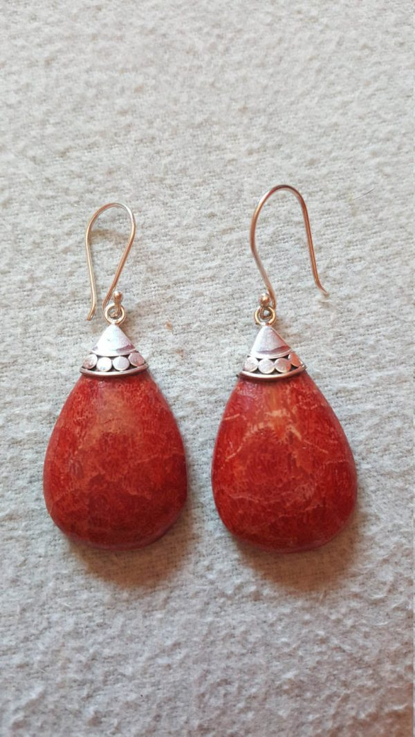 925 Sterling Silver Balinese Natural Genuine Red Coral Earrings 9.8 gr