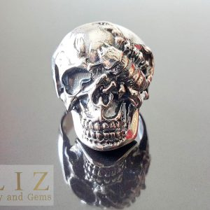 Scorpion Skull Eye Patch 925 Sterling Silver Ring Punk Rock Goth Biker