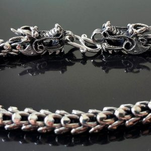 Dragon Clasp Armor Scaled .925 Sterling Silver Bracelet 9' Heavy 51.4 Grams