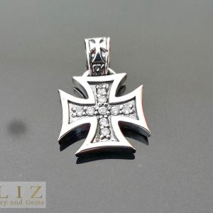 White Cubic Zirconia Iron Cross .925 Sterling Silver Pendant 1 inch L X .70 W