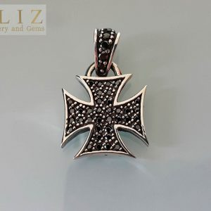 Black Cubic Zirconia Iron Cross .925 Sterling Silver Pendant 1 inch L X .70 W