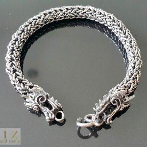 54 Gram's .925 Sterling Silver  Bracelet Dragon Clasp  punk goth rock biker Heavy