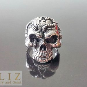 925 Sterling Silver Bound Half Jaw Skull  punk goth biker rocker Ring 9' 10'