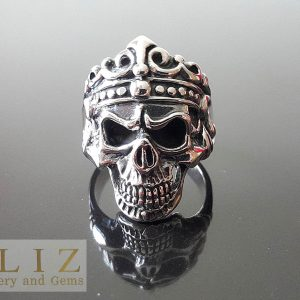 Skull Ring Sterling Silver 925 King Crown Skull Punk Goth Rock Biker Ring