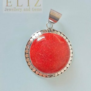 Large Sterling Silver 925 Natural Red Coral Pendant Custom Made Gift