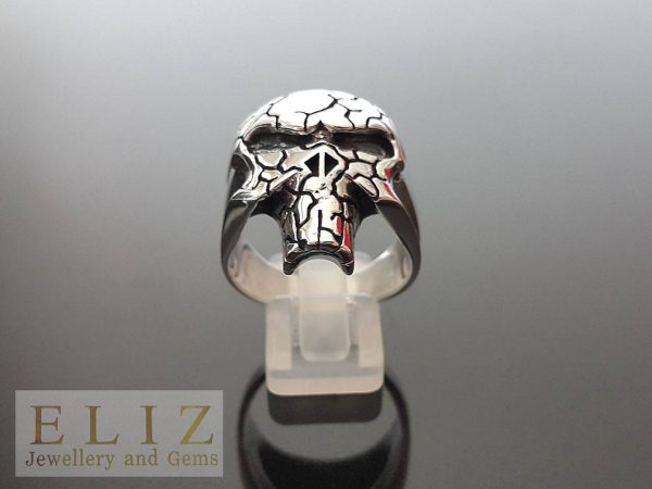 18 Gram's The Punisher Skull with Veins .925 Sterling Silver Ring 9.5' 12'