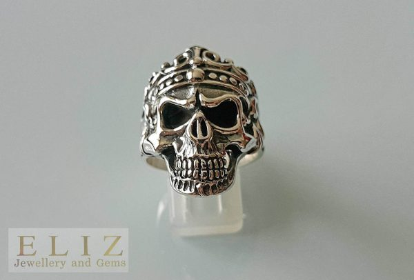Skull Ring Sterling Silver 925 King Crown Skull Punk Goth Rock Biker Ring