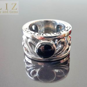 22.2 Grams Black Onyx Men's Sorcery .925 Sterling Silver Ring 9'