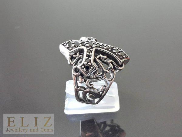 Black Diamond Cubic Zirconia Gothic Cross .925 Serling Silver 10.5' Ring 16 Grams
