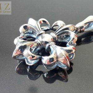 13 Gram's Star Fleur De Lis .925 Sterling Silver Goth Punk Rock Biker Pendant