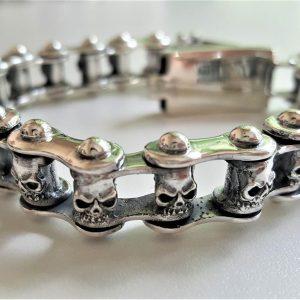 STERLING SILVER 925 95 Grams SKULL Motorbike Motorcycle Chain Link Bracelet Biker Rock 9' inch