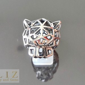 Panther Ring 925 Sterling Silver Geometric Panther punk goth bling biker rocker