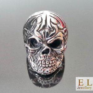 925 Sterling Silver Tribal Skull  punk goth rock biker Ring. 8.5' 10.5'
