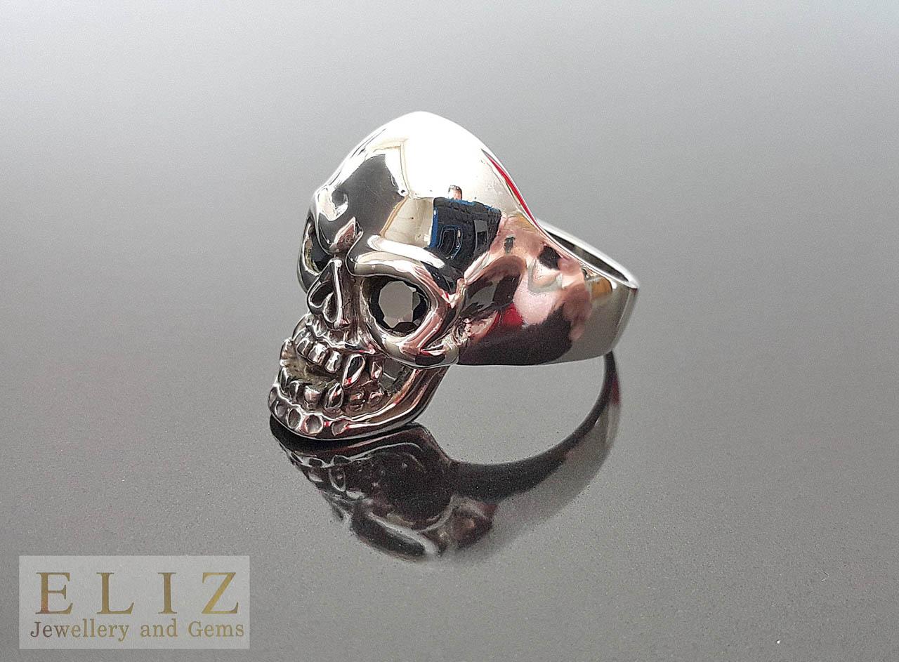 Biker Skull Black Cubic Zirconia Eyes Gothic Rocker Ring 14 g 925 Sterling Silver BELDIAMO