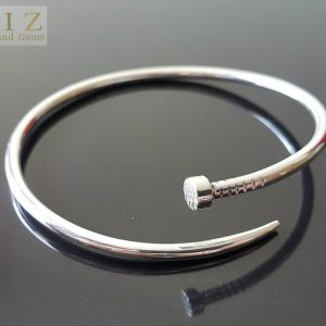 Twisted Nail 925 Sterling Silver UNISEX Rocker BRACELET Coffin Nail Punk Goth, Exclusive Design Adjustable