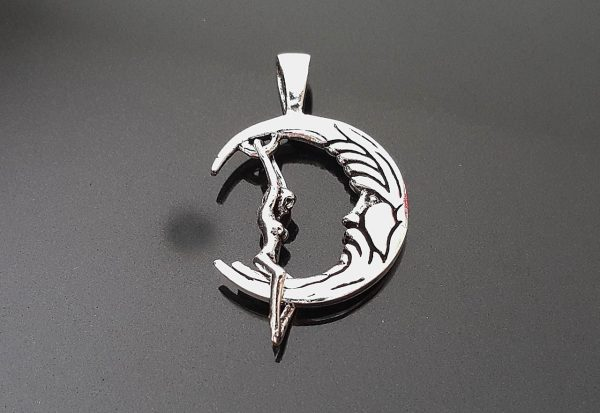 Crescent Moon Swinging Luna Woman/Elf .925 Sterling Silver Pendant 1'LX.75'W