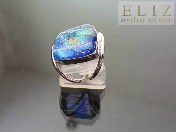 Sterling Silver 925 UNIQUE Ring Murano Glass Size 8 Exclusive Gift
