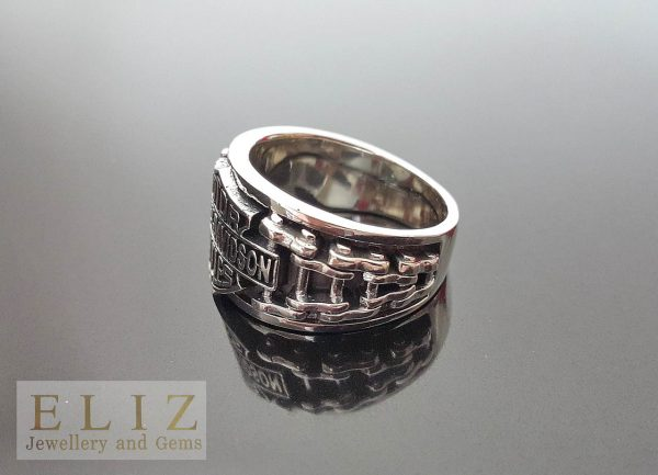 17 Gram's Motor Cycles Chain Link .925 Sterling Silver Ring 9.5' 10' 10.5' 11'
