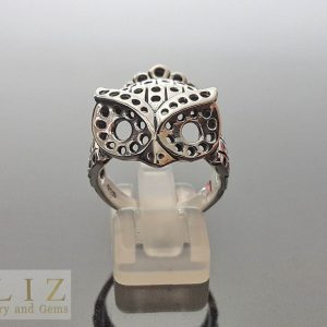 Geometric Owl of Athena Minerva .925 Sterling Silver Ring
