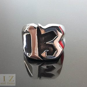 Sterling Silver .925 Ring Lucky number 13 Exclusive Punk Rock SZ 7.5, 8.5, 9.5, 10, 11