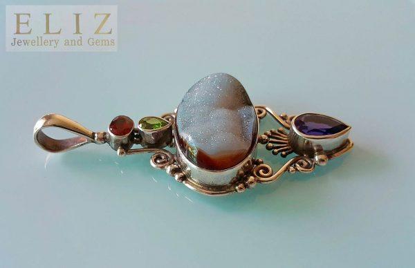Sterling Silver 925 Pendant Natural Druzy Quartz Geode Amethyst Peridot Garnet Genuine Gemstones Exclusive Custom Made Design