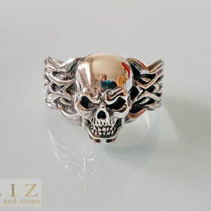 Skull Ring 925 Sterling Silver Tribal Banded Skull Biker Rocker Punk Goth